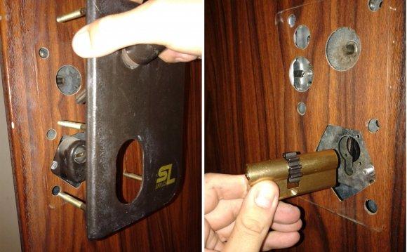 Сменить личинку в замке в металлической двери